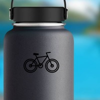 One Color Bike Camping Sticker on a Water Bottle example