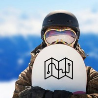 One Color Map Camping Sticker on a Snowboard example