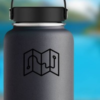 One Color Map Camping Sticker on a Water Bottle example