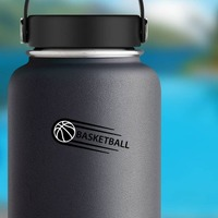 One Color Sweet Basketball Sticker on a Water Bottle example
