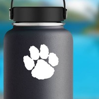 One Paw Print Sticker on a Water Bottle example
