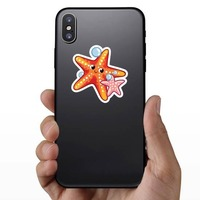 Orange and Pink Starfish Sticker on a Phone example