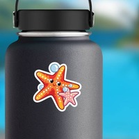 Orange and Pink Starfish Sticker on a Water Bottle example