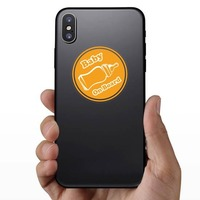 Orange Bottle Baby on Board Sticker on a Phone example