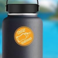 Orange Bottle Baby on Board Sticker on a Water Bottle example