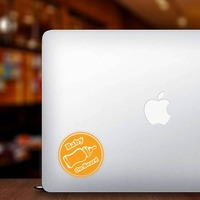 Orange Bottle Baby on Board Sticker on a Laptop example
