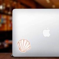 Orange Hand Drawn Scallop Sticker on a Laptop example