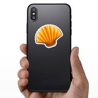 Orange Scallop Seashell Sticker on a Phone example