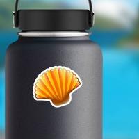 Orange Scallop Seashell Sticker on a Water Bottle example