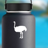 Ostrich Bird Sticker on a Water Bottle example