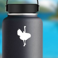 Ostrich Running Forward Sticker on a Water Bottle example