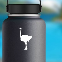 Ostrich Standing Sticker on a Water Bottle example