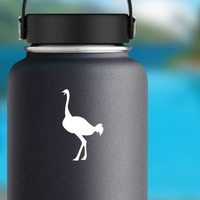 Ostrich Yelling Sticker on a Water Bottle example