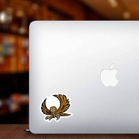 Owl Mascot Sticker on a Laptop example