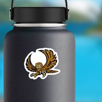 Owl Mascot Sticker on a Water Bottle example