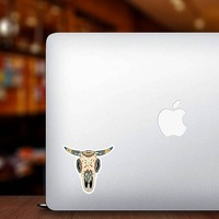 Painted Bull Cow Skull Sticker on a Laptop example
