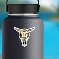 Painted Bull Cow Skull Sticker on a Water Bottle example