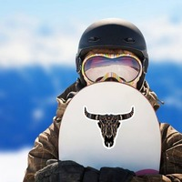 Painted Bull Cow Skull With Horns Sticker on a Snowboard example