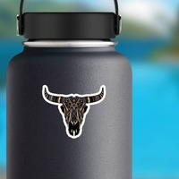 Painted Bull Cow Skull With Horns Sticker on a Water Bottle example