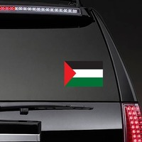 Palestine Flag Sticker on a Rear Car Window example