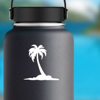 Palm Tree On Beach Sticker on a Water Bottle example