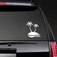 Palm Trees Beach Scene Sticker on a Rear Car Window example
