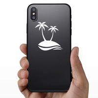 Palm Trees Beach Scene Sticker on a Phone example