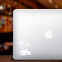 Palm Trees Beach Scene Sticker on a Laptop example