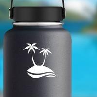 Palm Trees Beach Scene Sticker on a Water Bottle example