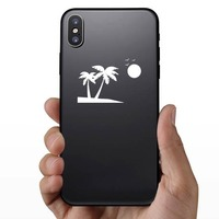 Palm Trees Beach Scene With Seagulls Sticker on a Phone example