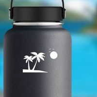 Palm Trees Beach Scene With Seagulls Sticker on a Water Bottle example