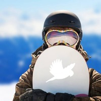 Parakeet Flying Sticker on a Snowboard example