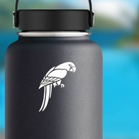 Parrot Looking Down Sticker on a Water Bottle example