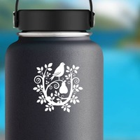 Partridge In A Swirly Pear Tree Sticker on a Water Bottle example