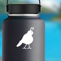 Partridge With Swirl Sticker on a Water Bottle example