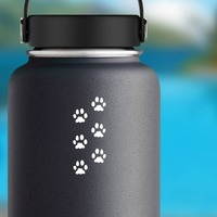 Paw Prints Sticker on a Water Bottle example