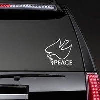 Peace And Dove Bird Sticker on a Rear Car Window example