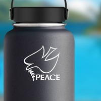 Peace And Dove Bird Sticker on a Water Bottle example