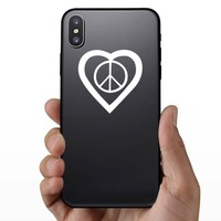 Peace Sign In A Heart Sticker on a Phone example