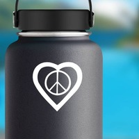 Peace Sign In A Heart Sticker on a Water Bottle example