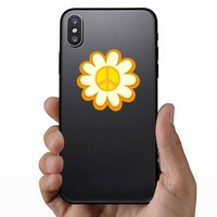 Peace Sign Sunflower Hippie Sticker on a Phone example