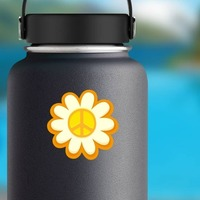Peace Sign Sunflower Hippie Sticker on a Water Bottle example