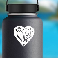 Pedaled Flower In A Heart Sticker on a Water Bottle example