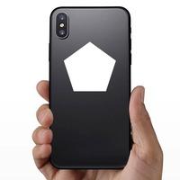 Pentagon Shape Sticker on a Phone example