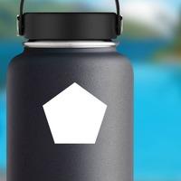 Pentagon Shape Sticker on a Water Bottle example