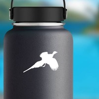 Pheasant Flying Sticker on a Water Bottle example