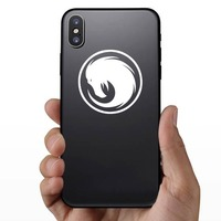 Phoenix Head Swirl Sticker on a Phone example