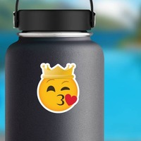 Phone Emoji Sticker Crown Blowing a Kiss on a Water Bottle example