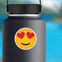 Phone Emoji Sticker Heart Eyes Happy on a Water Bottle example