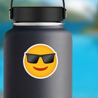Phone Emoji Sticker Sunglasses on a Water Bottle example